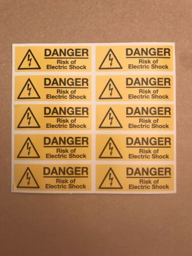 Danger Risk Of Electric Shock Label Stickers Labels Vinyl X 100 75mmx25mm