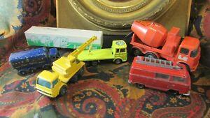 Bundle-of-5-Trucks-1-Trailer-Miniatures-Majorette-Matchbox-and-Various-Crane