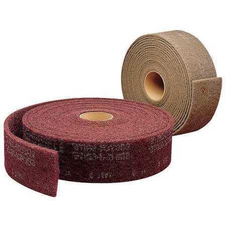 "L,Maroon SCOTCH-BRITE CF-RL Abrasive Roll,2/"" W x 30 ft"