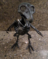 1 Black Skeleton Bird Prehistoric Halloween Prop Spooky Home Decor Cloche