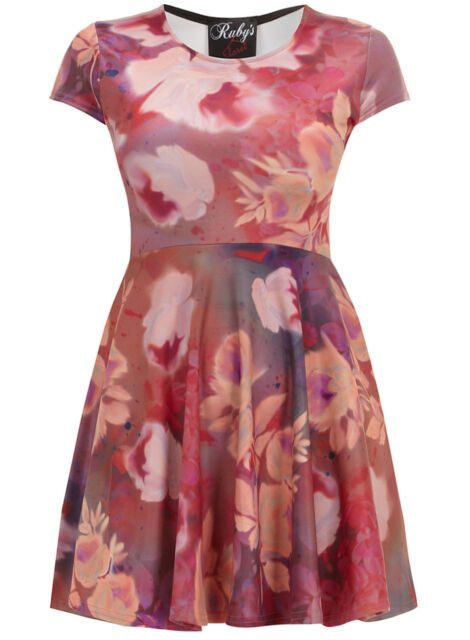 Ruby's Closet PINK Cap Sleeve Smudge Floral Skater Dress - Plus Size 16 to 26