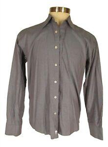 Canali 1934 Mens Blue Check Long Sleeve Cotton Shirt L Italy