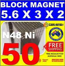 50X Block Neodymium Rare Earth Magnets 3X2X5.6 mm N48
