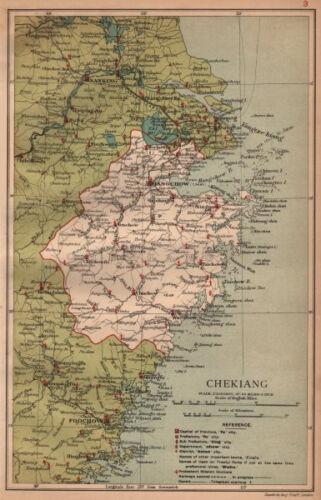 Hangchow China province map STANFORD 1908 Chekiang Zhejiang Hangzhou