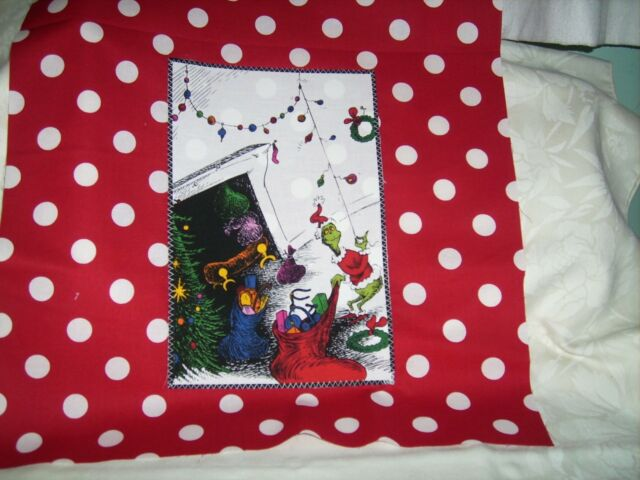 """Pillow COVER 16"""" Dr. Seuss Grinch taking decorations red #2"""