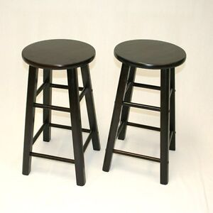 24 Inch Counter Stool In Espresso Set Of 2 Ebay