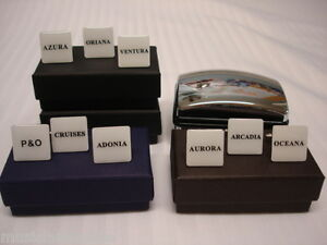P-amp-O-CRUISES-CUFFLINKS-SHIP-ADONIA-ARCADIA-AZURA-AURORA-Holiday-Present-gift-Box