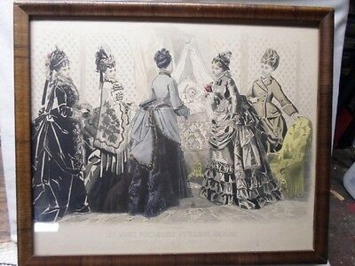 antique picture frame, print of Les Modes Parisiennes, Dec, 1874, 9 X 11, # 317