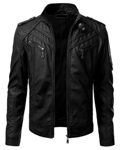 Slim Biker New Real Jacket Genuine Black Men Leather Retro Fit Vintage FPwIB0q