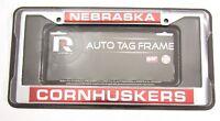 Nebraska Corn Huskers Chrome Metal Laser Cut License Plate Frame