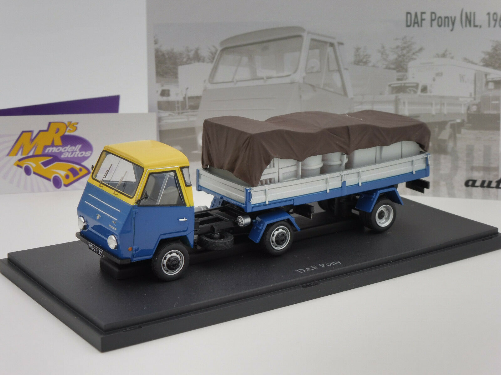 venta al por mayor barato Autocult 08010 08010 08010   DAF Pony remolCochese año 1968 en  azul-amarillo-plata  1 43 nuevo  Centro comercial profesional integrado en línea.