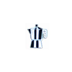 Black White Barista CoffeeGeek Percolator Stovetop Coffee Maker Pin Brooch Badge