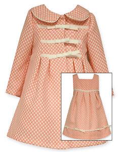 60271ed2046 Bonnie Jean Little Girls Coral Polka Dot Easter Dress   Coat Set 4 5 ...