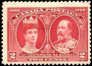 Canada-98-mint-F-VF-OG-HR-DG-1908-Quebec-Tercentenary-2c-KEVII-amp-Q-Alexandra