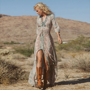 Chiffon-Maxikleid-Boho-Hippie-Sommerkleid-Partykleid-Abendkleid-Kleid-NEU