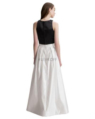 Bill Levkoff Bridesmaid Dress 7013 Black Tie White Wedding Long 2 pc Gown Satin