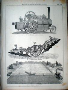1888-stampa-incisione-AGRICOLTURA-ARATURA-e-ARATRO-Locomotiva-a-VAPORE-n-70