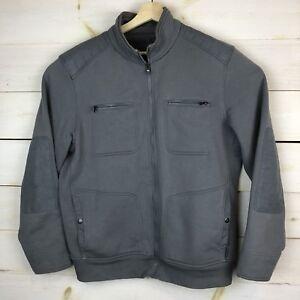 Calvin-Klein-full-zip-bomber-style-jacket-Mens-Large-Gray-fleece-lining-4-pocket