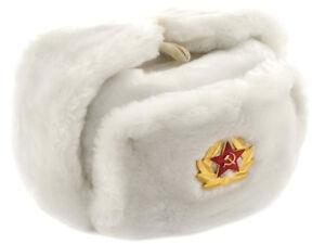 Toque Russe Fourrure Hiver Soviétique Ushanka Armée avec insigne soldat Cap