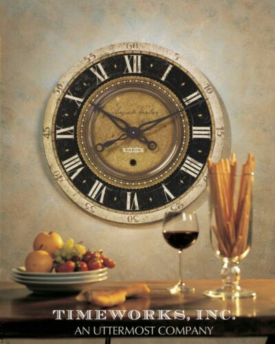 """LARGE 27/"""" WEATHERED LAMINTAED BLACK /& AGED BRASS ROUND WALL CLOCK BIG NUMBERS"""