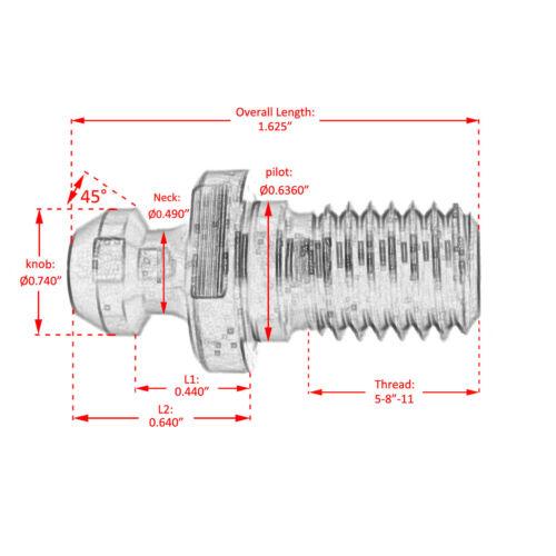10pcs CAT 40 45° Pull Stud Retention Knob Fits Mazak Fadal CAT40 CNC