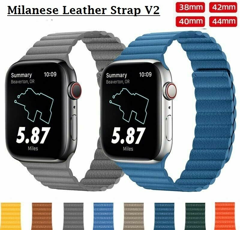 iwatch: Apple Watch Leather Strap iWatch Leather Band Magnetic Milanese Loop V2 [NEW]