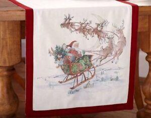 Pottery-Barn-Nostalgic-Santa-Table-Runner-Red-18x108-Christmas-Reindeer-sleigh