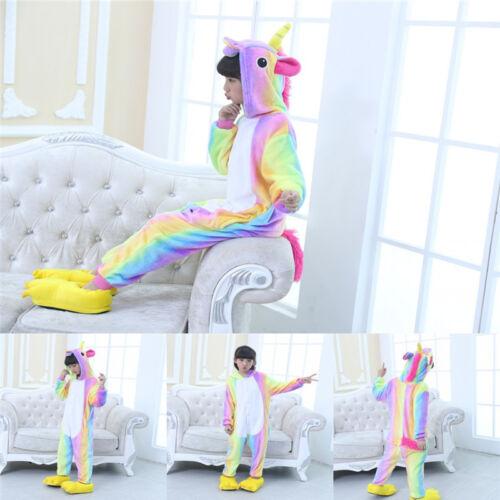 Kids Girls Unicorn Costume 3D Animal Hoodie Jumpsuit Cosplay Pajamas Sleepwear
