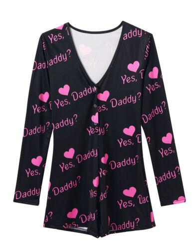 Women One-piece Deep V Neck Leotard Bodysuit Nightwear Short Rompers Pajamas Top