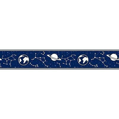 Kids Dark Blue Constellation 17.5cm wide x 5m long Space Wallpaper Border