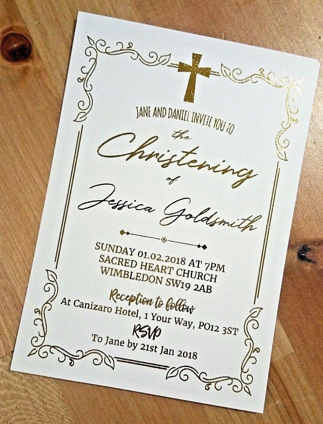 Invito Personalizzato Battesimo Battesimo Vero oro Metallizzato Metallizzato Metallizzato reception invitare 328249