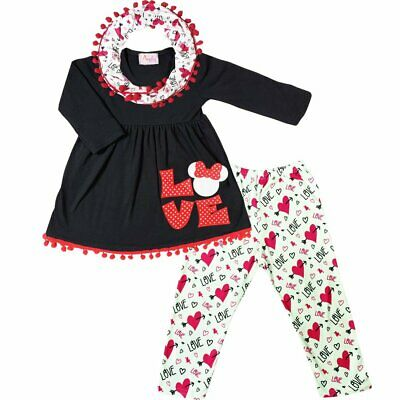 Toddler Little Girls Valentines Day Love Heart Checkers Scarf Outfit Red//White