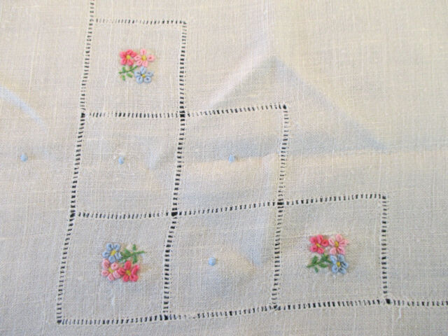 """Tablecloth Bullion Embroidered Linen Flowers Openwork Vintage Hand Made 32"""" Sq"""