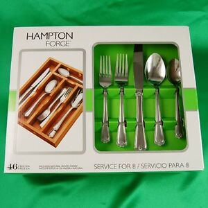 Hampton-Forge-Danielle-New-stainless-flatware-46-Piece-box-Set-w-Wood-Caddy