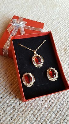 Radient Ruby Jewelry Pendant Set Gold Plated For Christmas & Mothers Gifts Great Quality