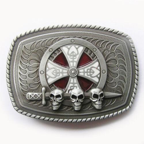 Belt Buckle Celtic Cross Skull Shield Western Cowboy Cowgirl Buckle