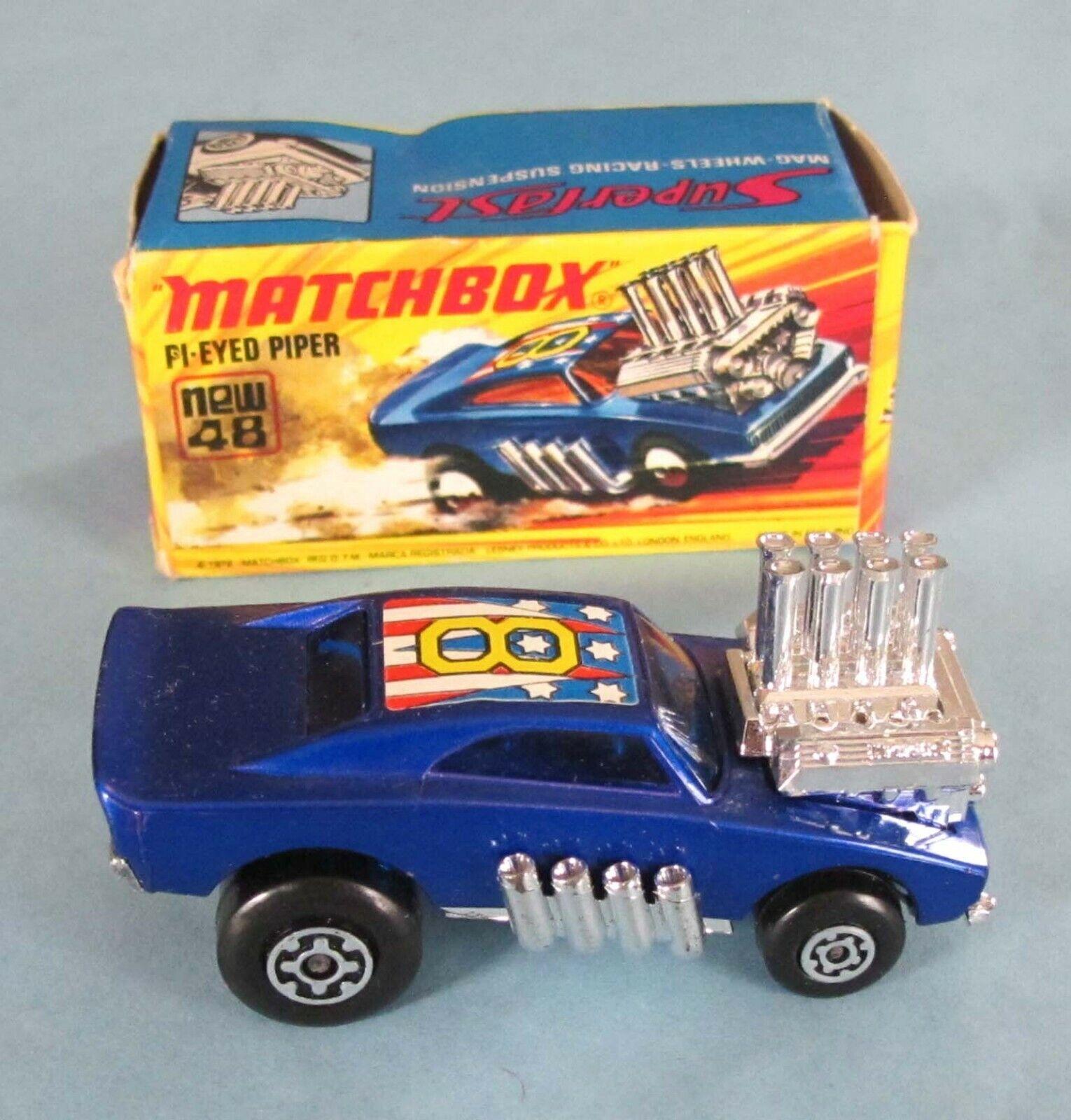 Vintage-Matchbox-pi-eyed piper-Nº 48 - © 1972-LESNEY-Coffret-bleu Windows