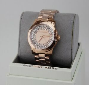 Details about NEW AUTHENTIC MICHAEL KORS RUNWAY ROSE GOLD BAGUETTE CRYSTALS WOMEN MK6533 WATCH