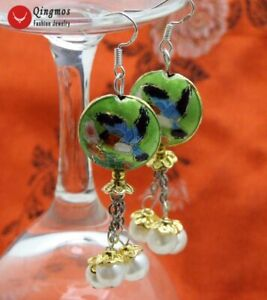 18mm-Round-Green-Cloisonne-amp-White-Natural-Pearl-Earrings-for-Women-Dangle-ea527