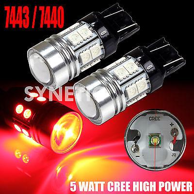 2x 7443 High Power CREE Q5+SMD Amber Yellow Turn Signal Blinker LED Light Bulbs