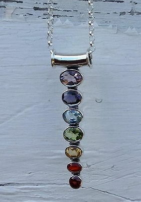 517 Chakra 7 genuine gemstone 925 sterling silver tube pendant rrp$89.95