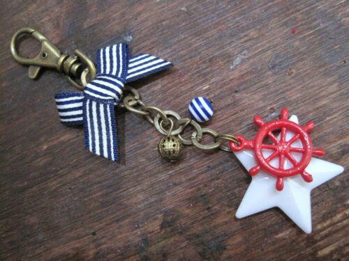 NAUTICAL RED WHEEL Huge White Star Antique Gold Bag Charm Blue Stripe Bead /& Bow
