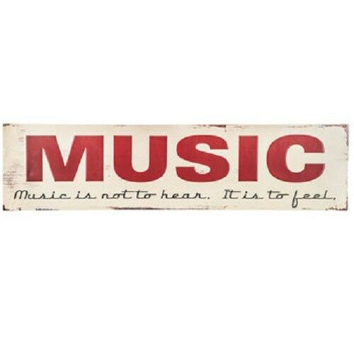 """Entertainment Office Home Wall Decor 32/"""" x 8/"""" Large MUSIC Distressed Metal Sign"""
