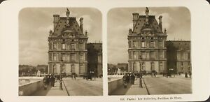 FRANCE-Tuileries-Pavillon-de-Flore-Photo-Stereo-Vintage-Argentique-c1905
