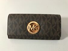 MICHAEL MICHAEL KORS SIGNATURE PVC FULTON FLAP CONTINENTAL WALLET IN  BROWN