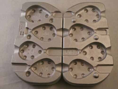 Aluminium Mould for 4 Flat Pear Grippa weights 70,80,90 and 110 grams