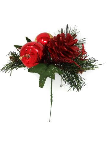 Artificial Red Apple /& Pine Cone Babiole Pick x 20 cm Noël Fleuriste paillettes
