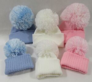 874964a6398 Baby Boys Girls Pink Blue White Knitted Winter Bobble Hat Big Pom ...