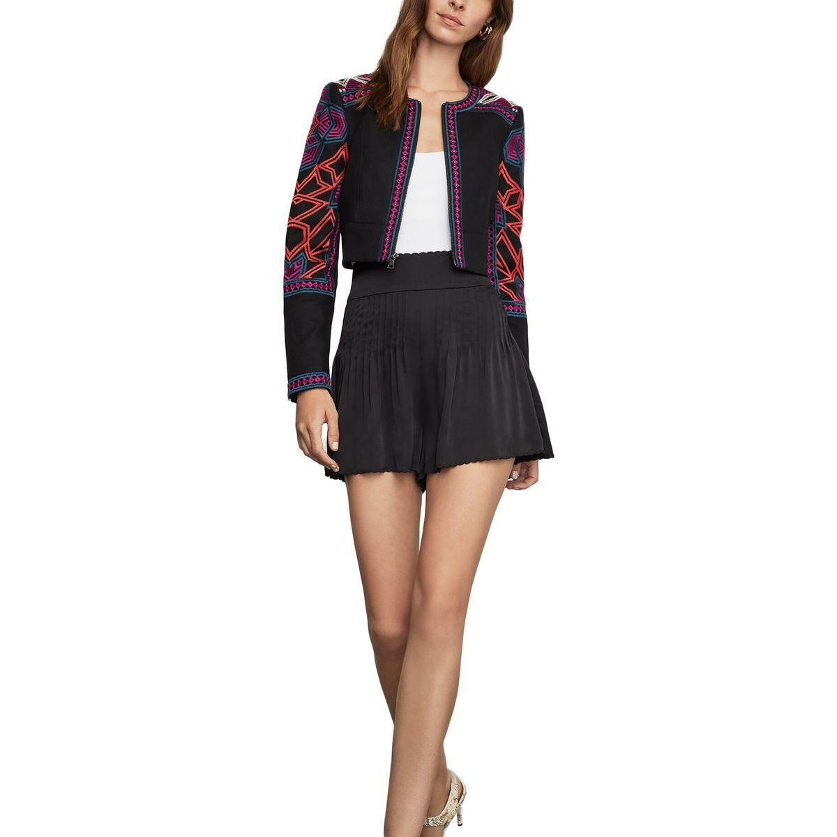 BCBGMAXAZRIA Womens Embroidered Cold Weather Cropped Jacket Coat BHFO 2955