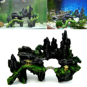 New tree aquarium mountain house view cave bridge fish for Aquarium cave decoration